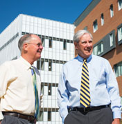 Phil Bailey and Warren Baker at the new Baker Center for Science