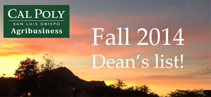 Fall 2014 Dean's List - Cal Poly Agribusiness