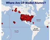 Googlemap of where BioSci alumni live around the globe