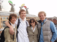 Image of Chad Worth, Neil Bulger, Nancy Cole, and Eric Veium in europe.