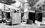 Photo of the modular house in Poly Canyon under construction in the 1970s