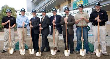 Photo of ground breaking participants with shovels