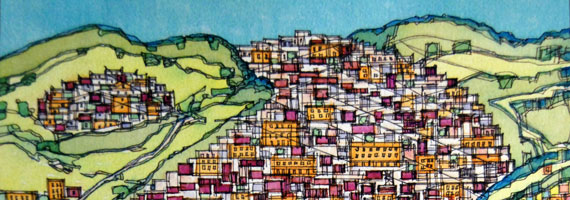 Abstract artwork by Swensen suggesting a city by the ocean