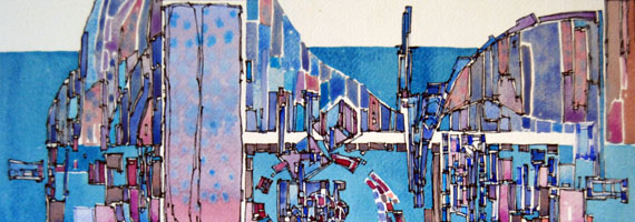 Abstract artwork by Swenson suggesting city by the water
