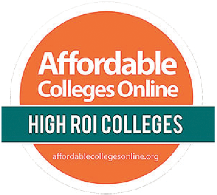 Affordable Colleges online High ROI Colleges badge