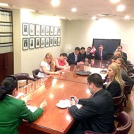 Cal Poly Model UN Team meeting with the the Peruvian delegation at the United Nations in New York