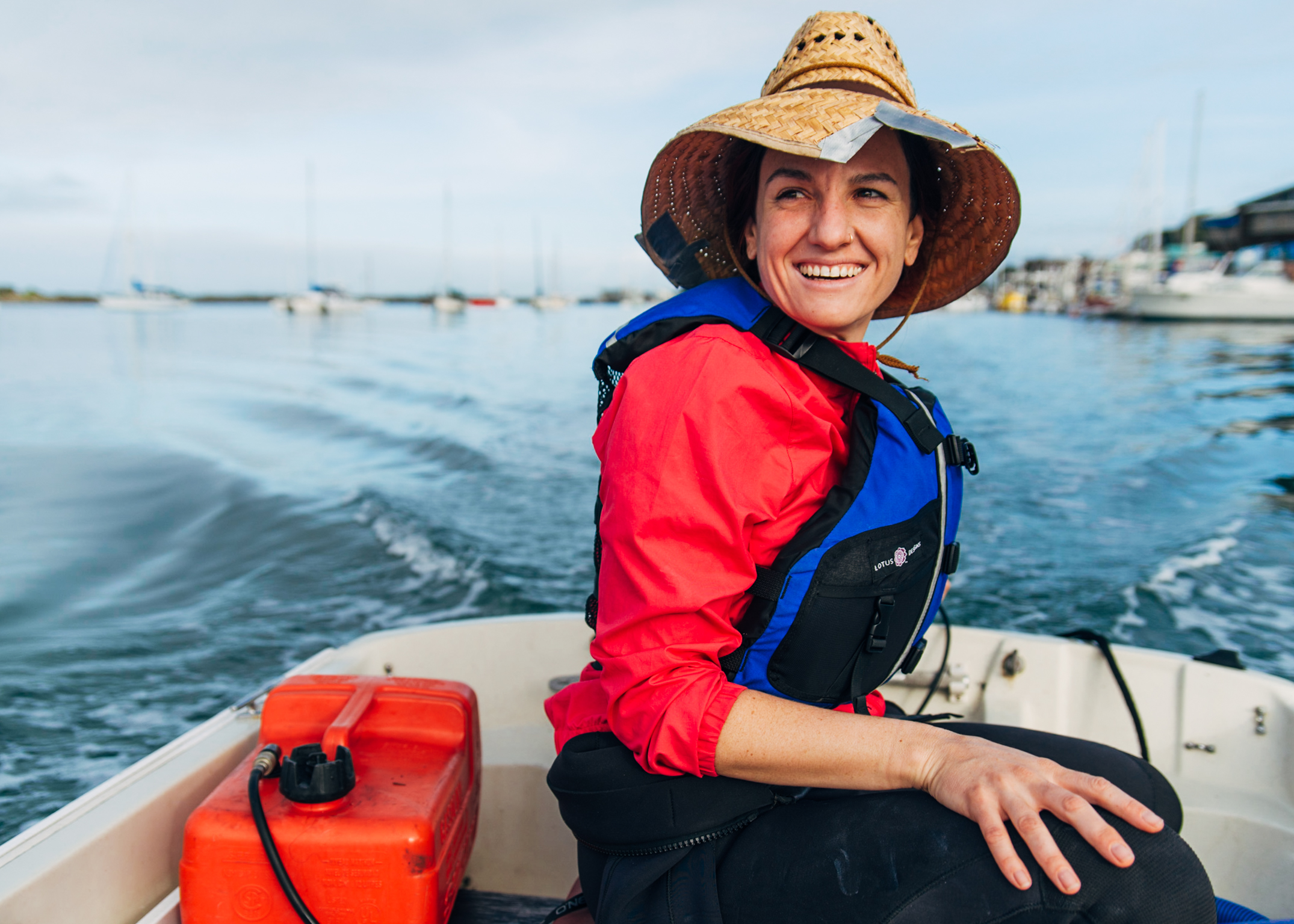 Erin Aiello motors out to study eel grass restoration in Morro Bay.