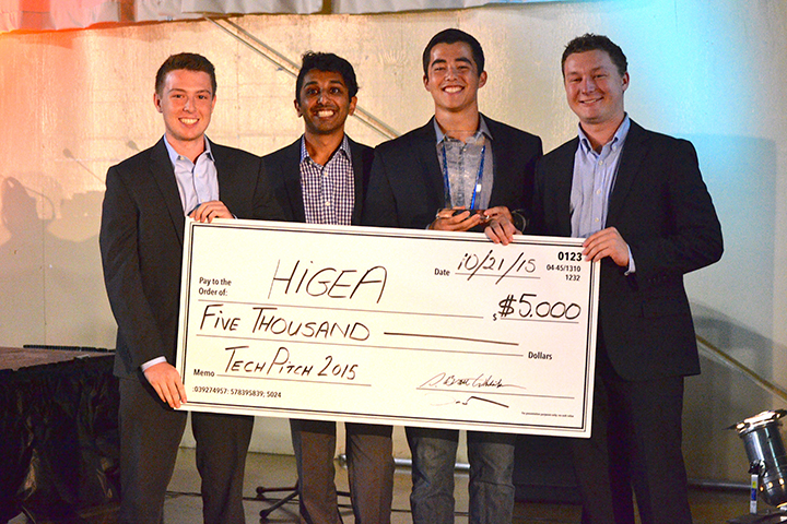 Higea Technologies employees pose with a check for $5,000