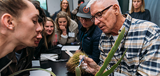 Photo of students looking on a professor points to cactus with an instrument.