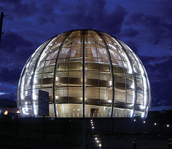 CERN spherical building at night