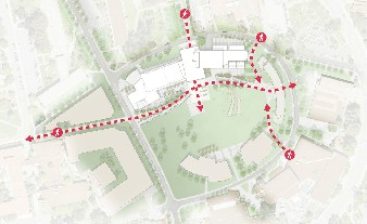 Map of pedestrian traffice flow around Center for Science and Mathematics