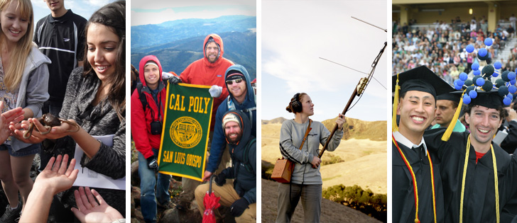 Collage of students in the woods, on a mountain, in the ocean, and graduating.