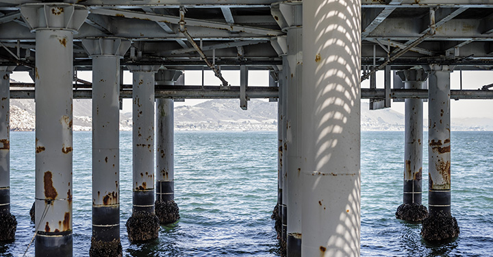 Support beams underneath Cal Poly pier
