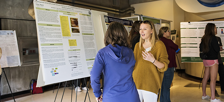 Image of two people toping in front of research poster.