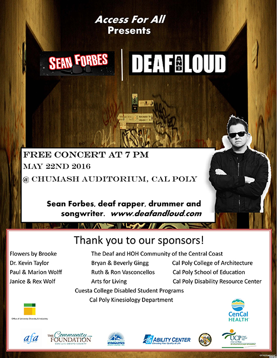 Sean Forbes Deaf and Loud Event Flyer