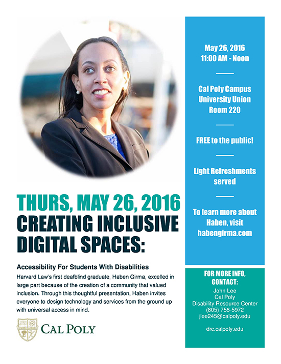 "Haben Girma ""Creating Inclusive Digital Spaces' flyer"
