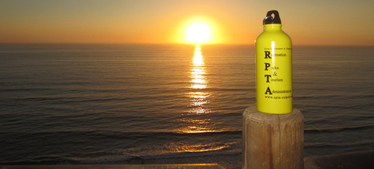 RPTA's water bottle with sunset in the background