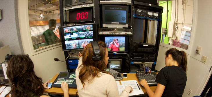 Students working in the production room of CPTV