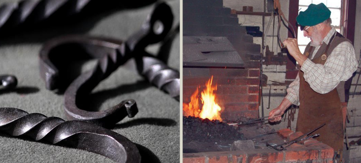 pictures of hooks forged and crafted by Bill Forgeng, picture of him working in the blacksmith shop