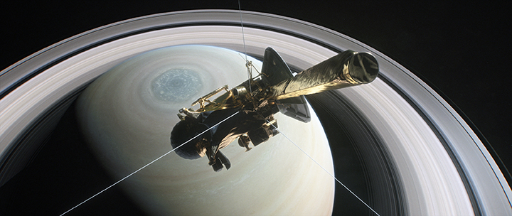 image of Cassini spacecraft approaching Saturn