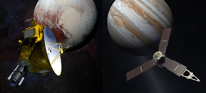Artist rendition of the New Horizons and Juno spacecrafts