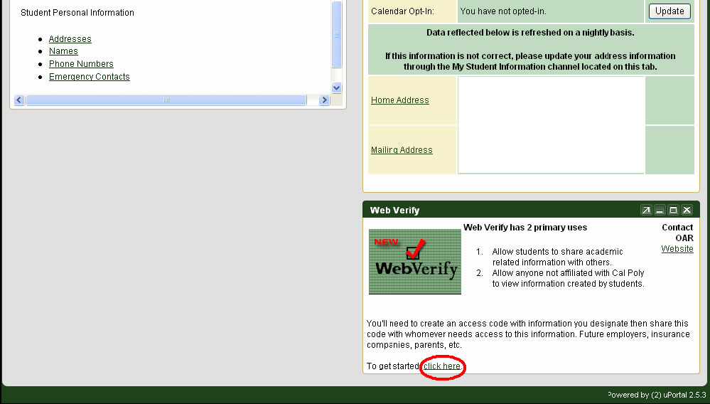 "Go to the Web Verify area and click on the link called ""Click Here"""