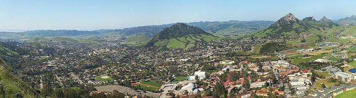 Aerial view of Cal Poly San Luis Obispo University campus.