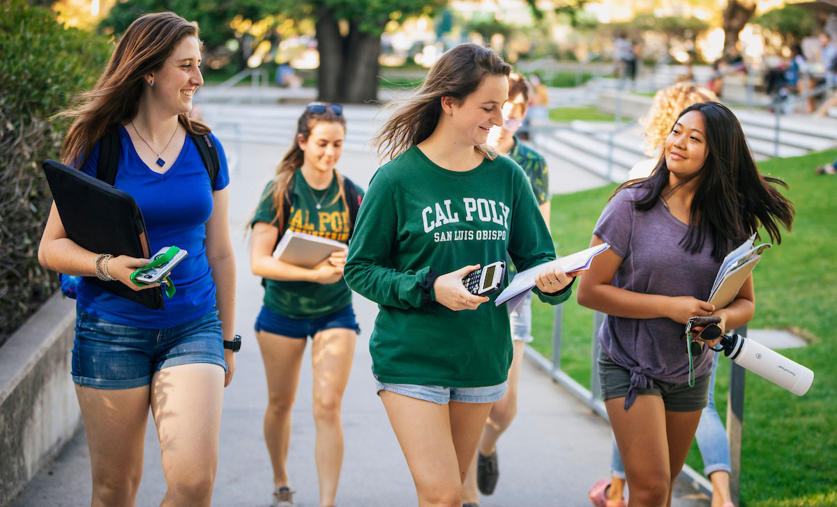 Students walking near Kennedy Library on Cal Poly's Campus
