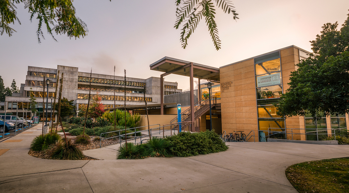 The Kennedy Library and Bonderson Projects Center at Dusk.