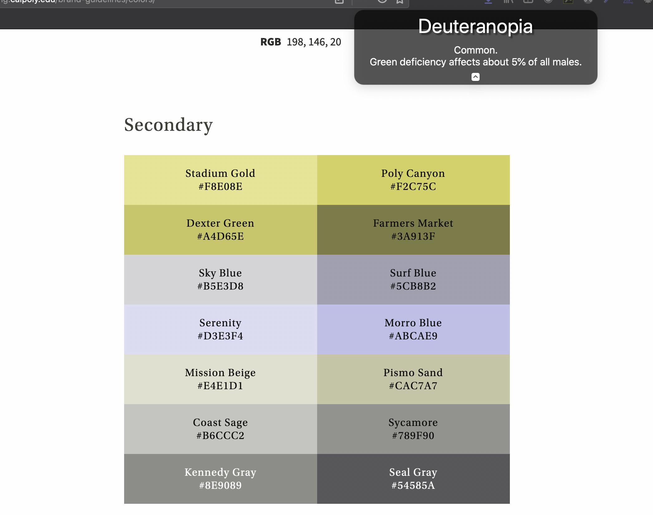 deuteranopia version of Cal Poly brand colors