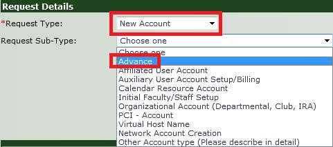 Request Details For a New Advance Account in SRS