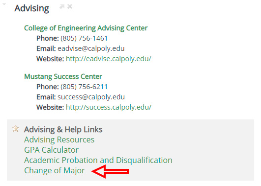 click on change of major link on academics tab