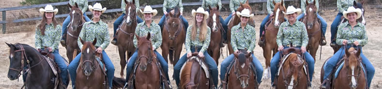 Photograph of students riding ranch horses