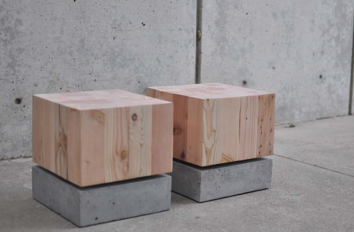 wood and cement seats by Juliet Luty