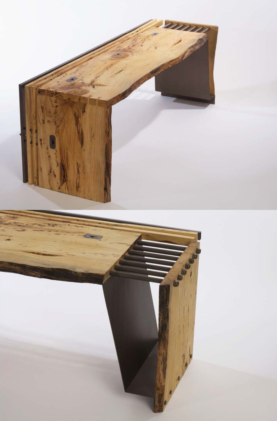 wood bench by Mineli Megerdichian