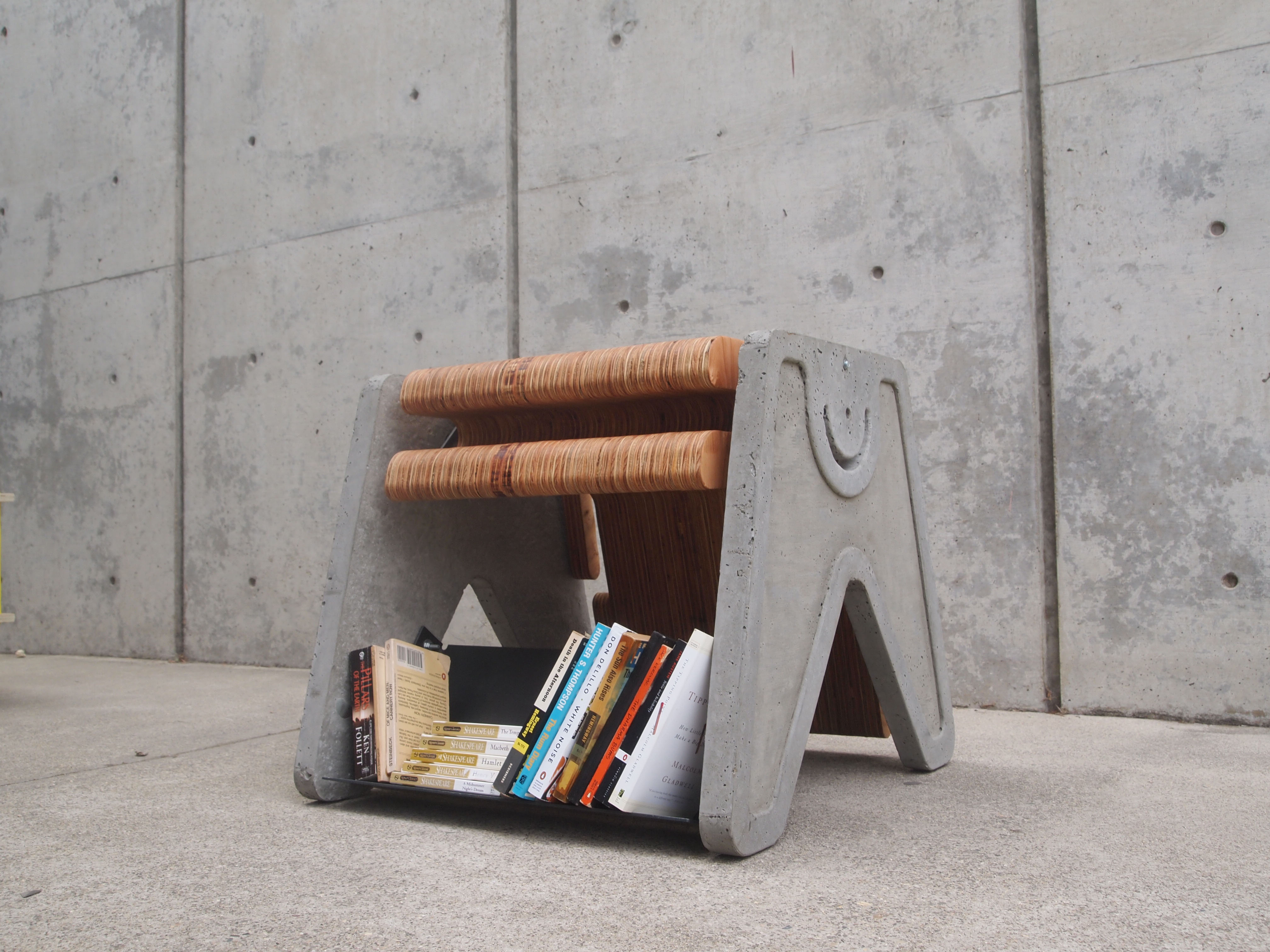 cement and wood foot stool book case by Marcus Simmons