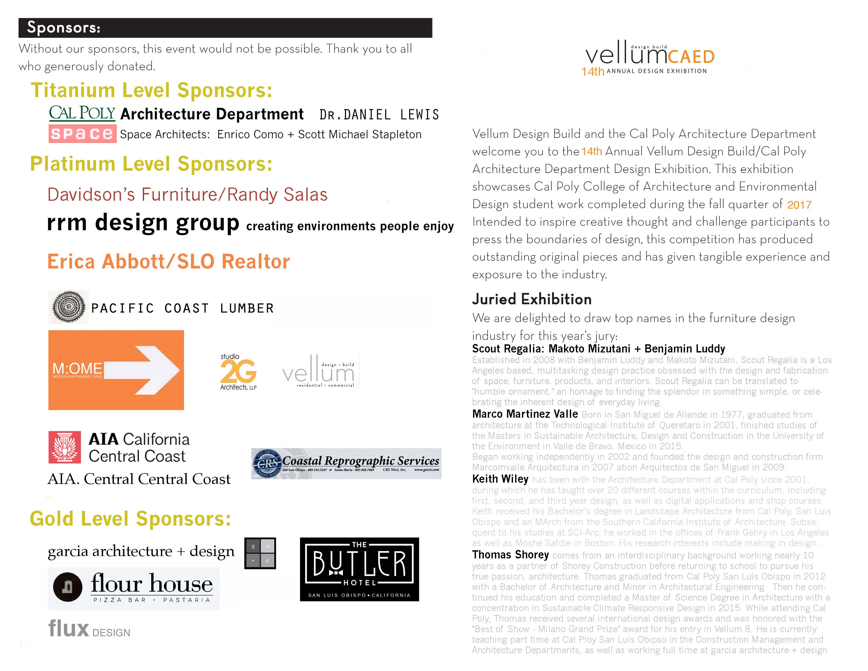 flyer pages of sponsors and judges for Vellum 2017