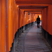 Student walking down a hall defined by undulating orange walls