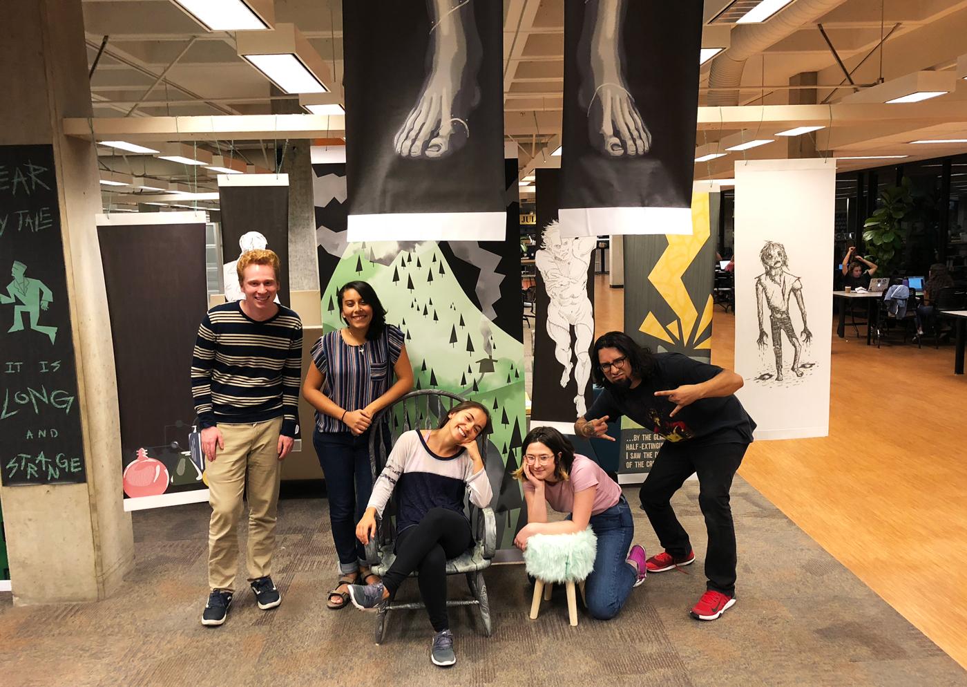 Art and Design students install Frankenreads backdrop