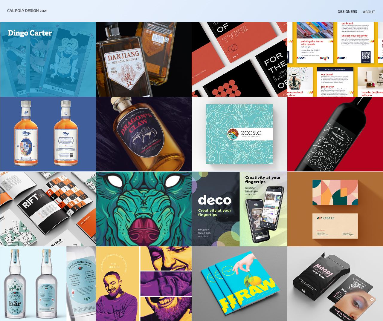 The Department of Art and Design Graphic Design Senior Showcase website