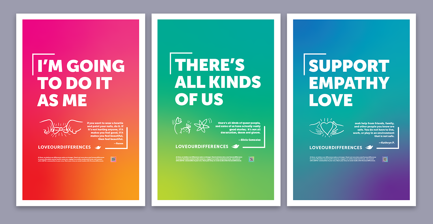 Cal Poly Graphic Design student project / Art 237: Graphic Design I / Love our Differences LGBTQ+ advocacy posters