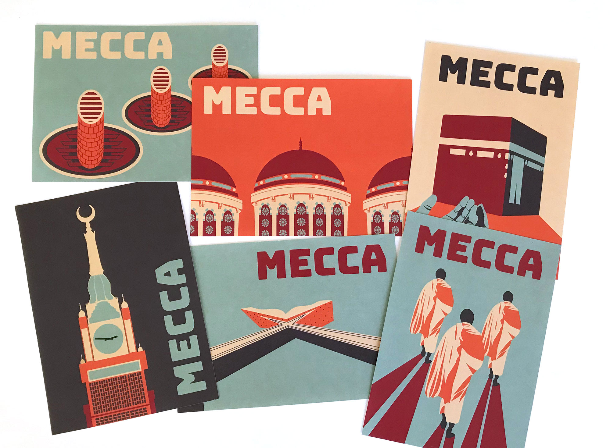 Cal Poly Graphic Design student project / Art 237: Graphic Design I / postcards for Mecca