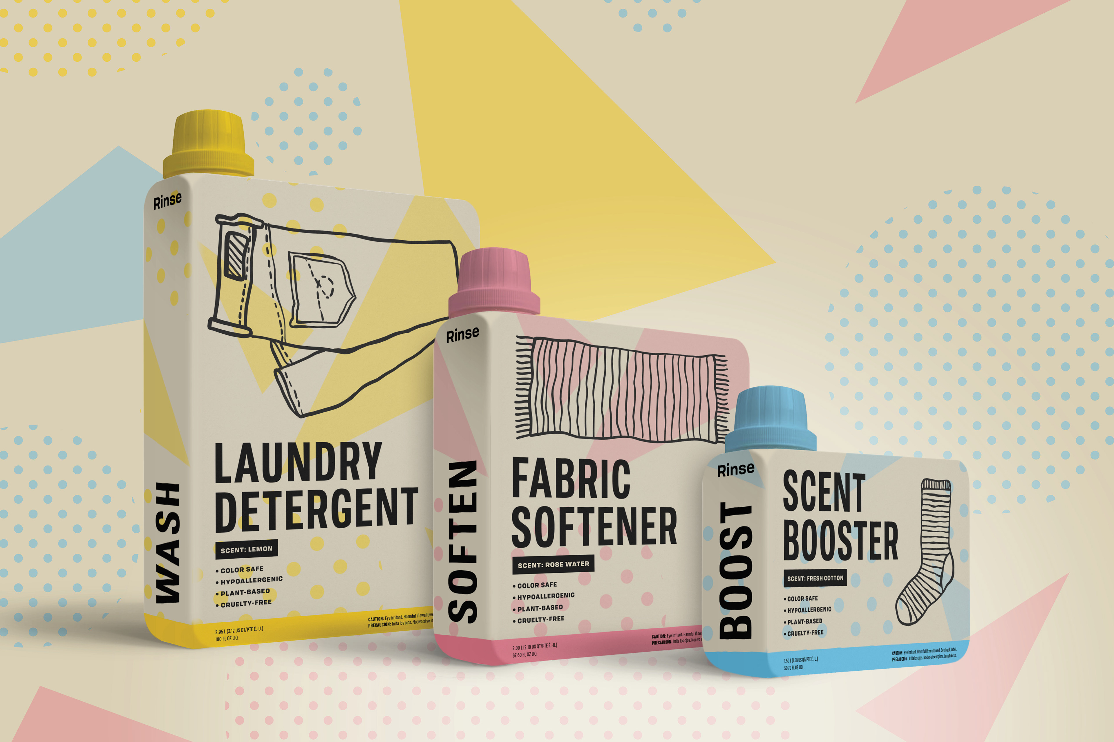 Cal Poly Graphic Design student project / Art 437: Graphic Design III / laundry detergent package design