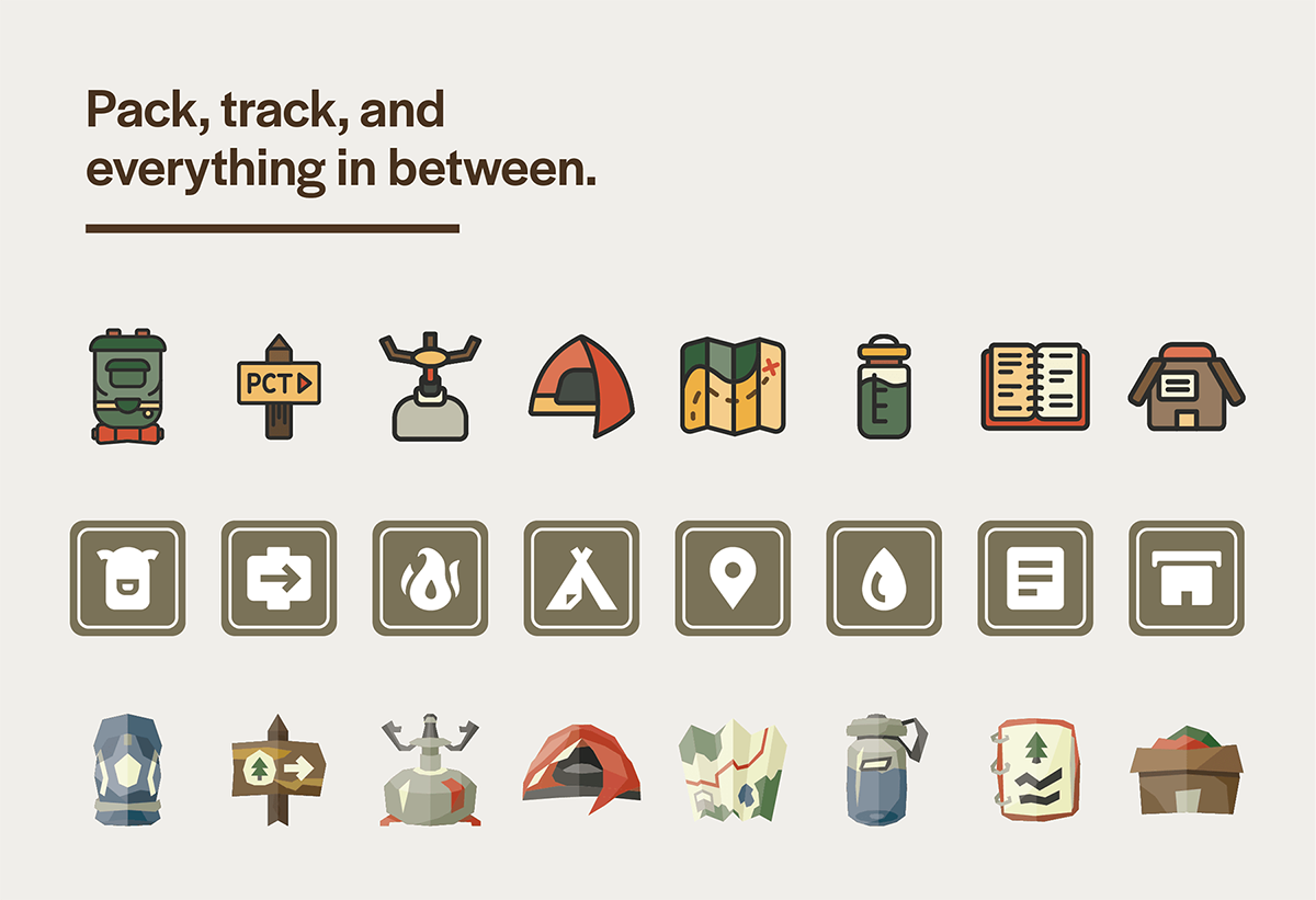 Cal Poly Graphic Design student project / Art 488: Interaction Design III / icon design for hiking app