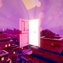 open door with light pouring through on a rooftop against a magenta sky