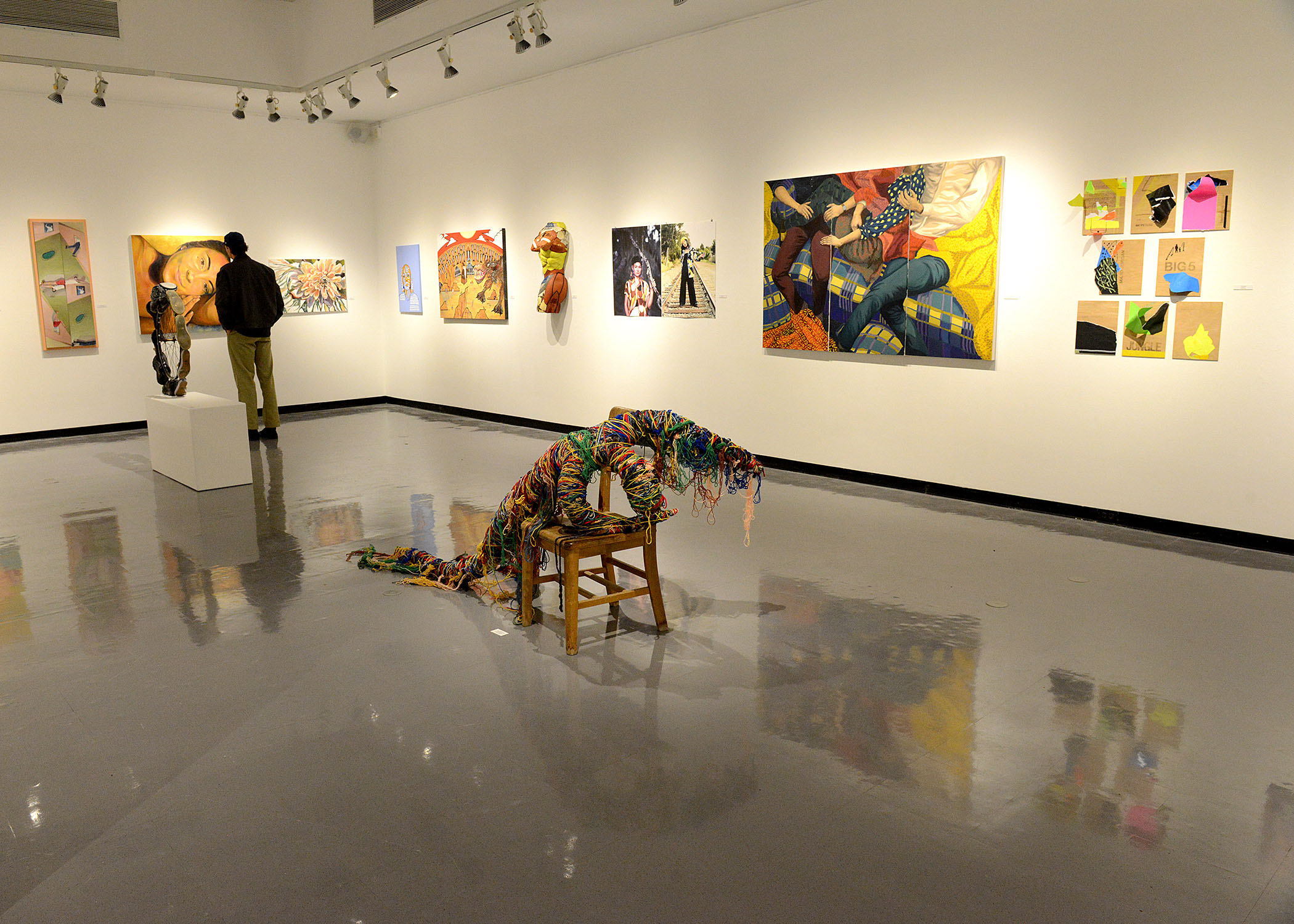 Gallery set up with 2018 Juried Student Art Show