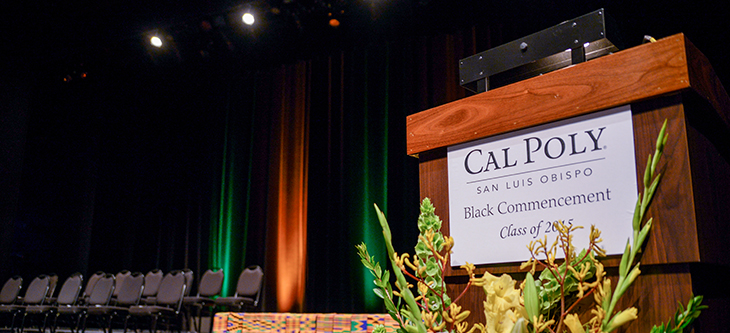 Podium decorated for Black Commencement