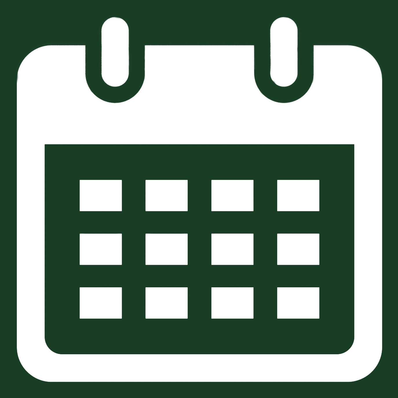 Event Calendar - graphic of a white calendar on a green background