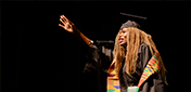 Black woman graduating at Cal Poly