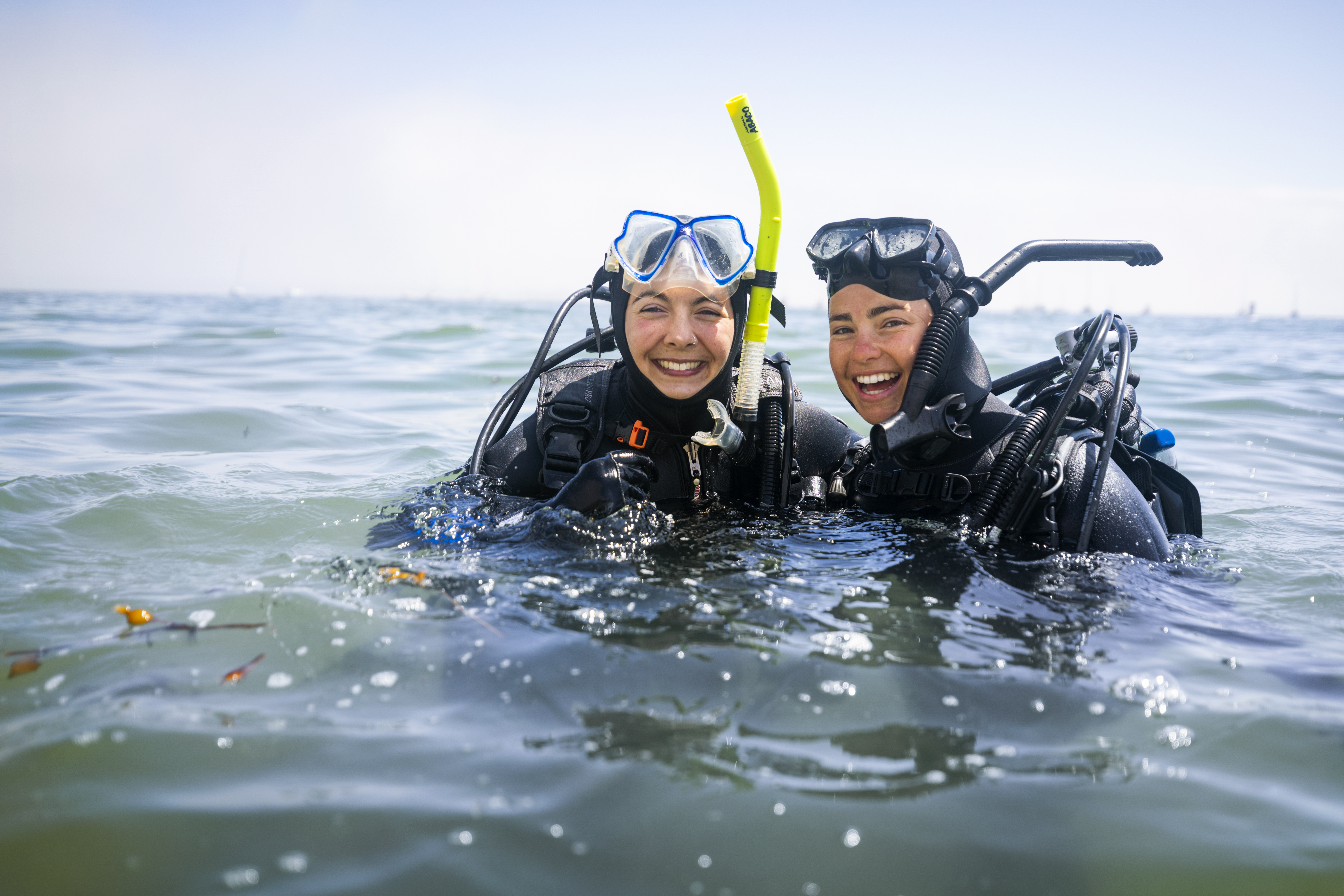Two Cal Poly students pause during a marine sciences diving course.